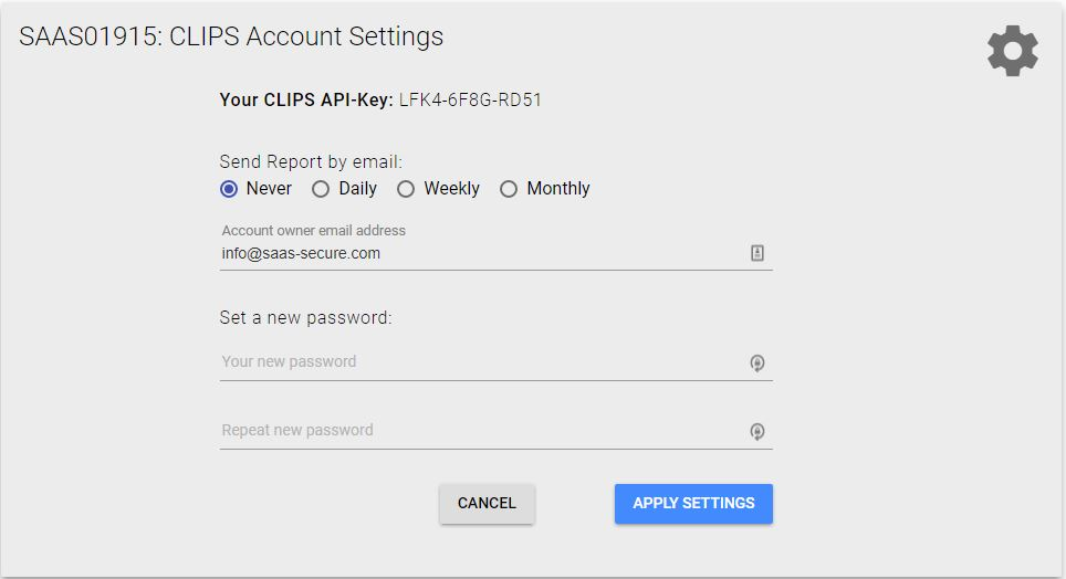 Cloud-IPS account settings